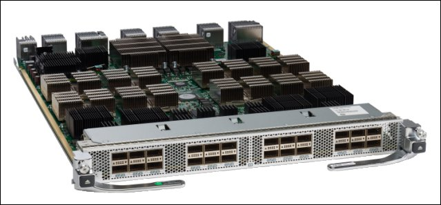 Picture of the  MDS 9700 24-port 40-Gbps FCoE Switching Module.