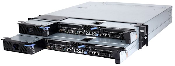 Two dx360 M4 compute nodes installed in an 2U iDataPlex chassis