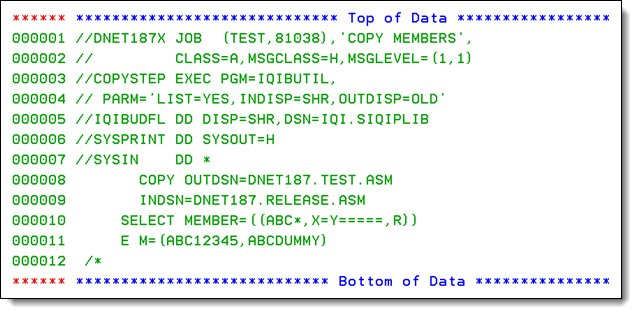 JCL and utility statements to copy one of the data sets to the test environment