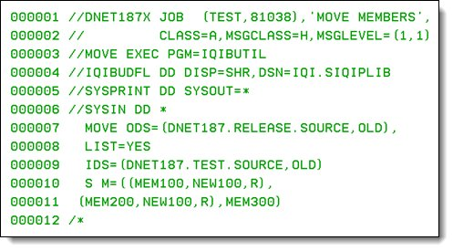 Moving the source code for the new release from the test data sets to the production data sets