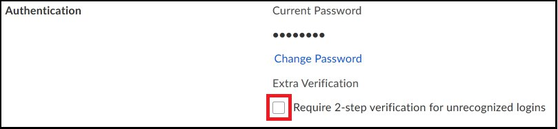 Screen capture showing selecting Require 2-step verification for unrecognized logins in the Authentication section.