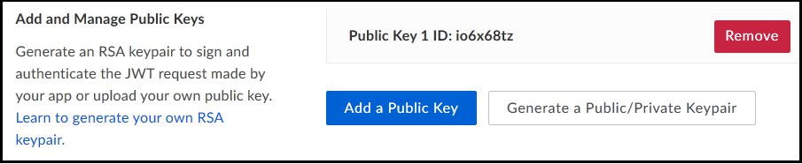 Screen capture showing where to find the Add a Public Key button in the Add and Manage Public Keys section.