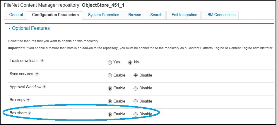 Screen capture showing selecting Enalbe for Box Share on the Configuration Parameters tab.