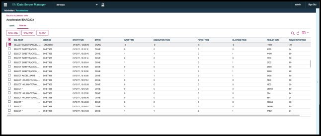 Screen capture showing the Query Dashboard.
