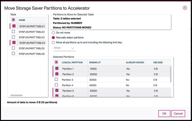 Screen capture showing the  Move Storage Saver Partitions to Accelerator dialog.