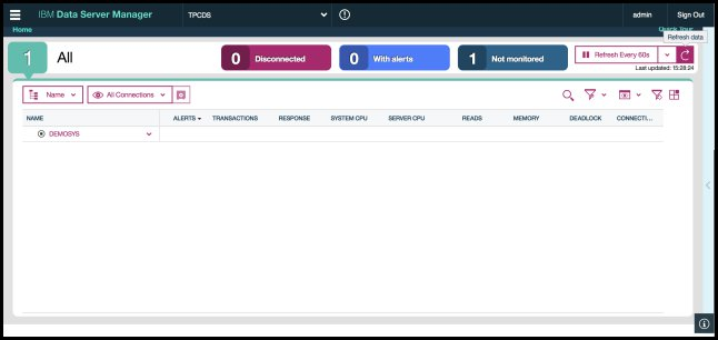 Screen capture showing the Home page of IBM Data Server Manager.